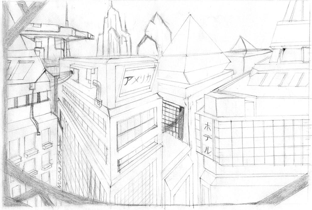 2 point perspective city by reapr38 on deviantart for Exterior 2 point perspective