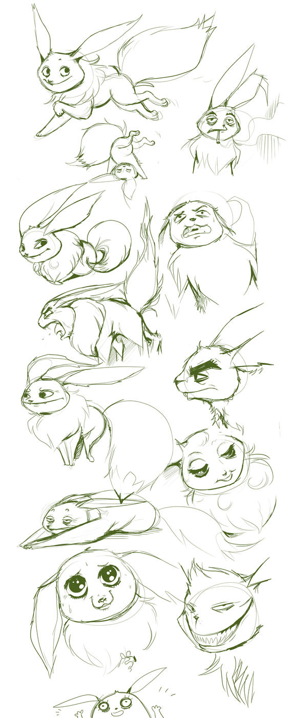 stress-ball eevees by Buuya