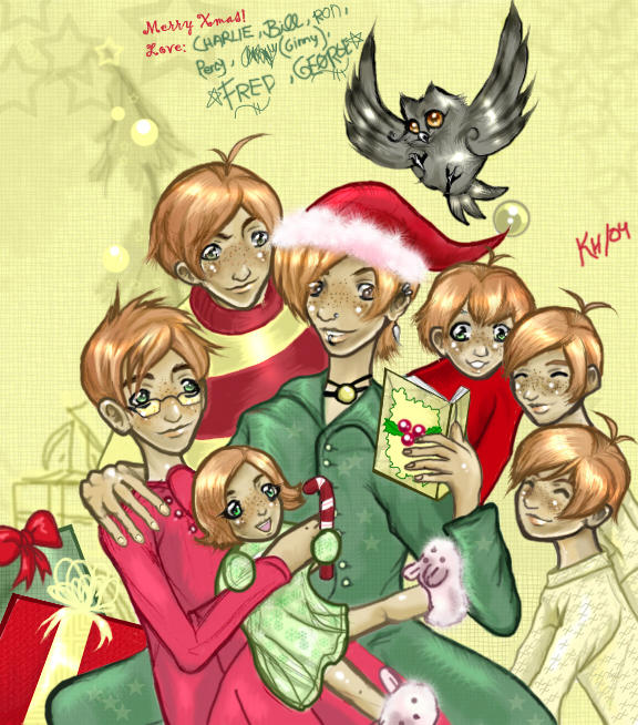 The Weasley Kids' Xmas Card by Buuya