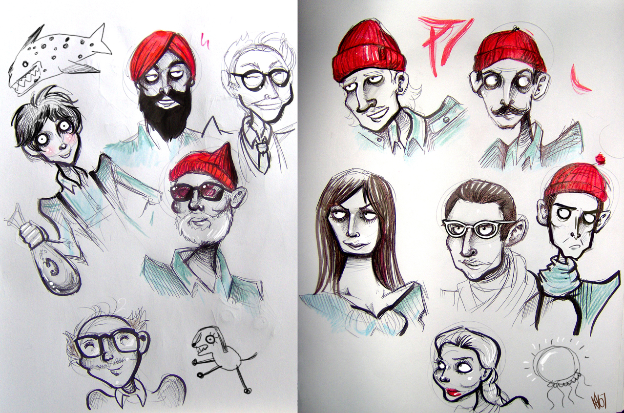Sketchbook- Life Aquatic cast by Buuya