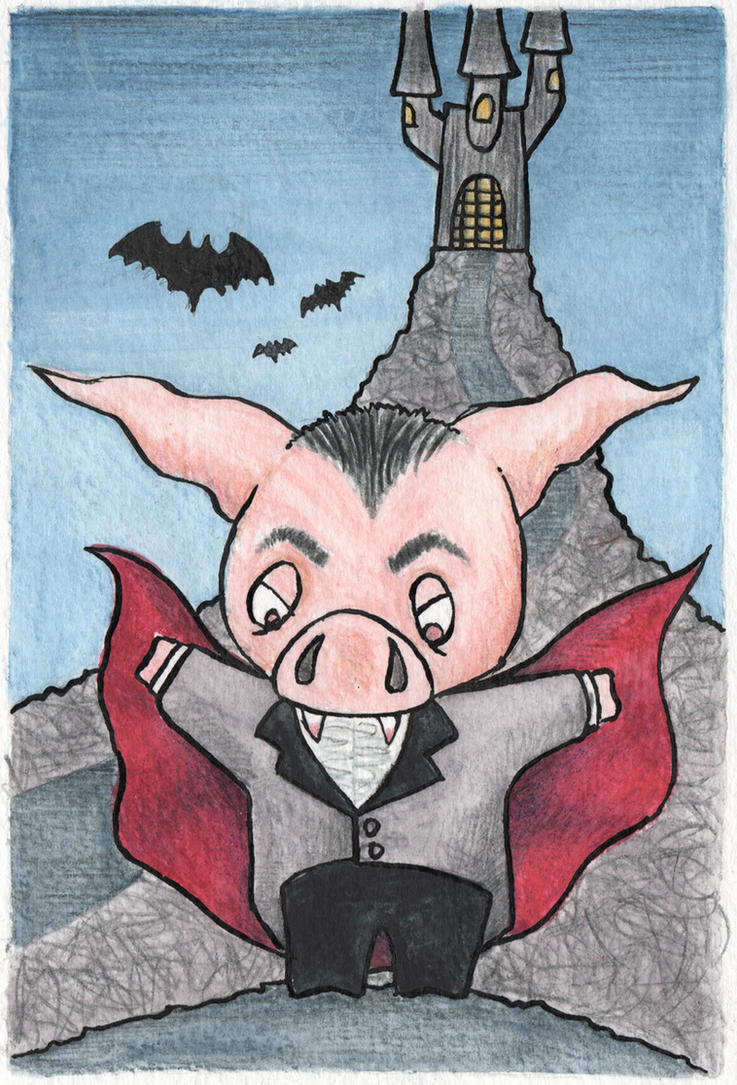 Vampire pig wants to drink your blood! by Stewbeck