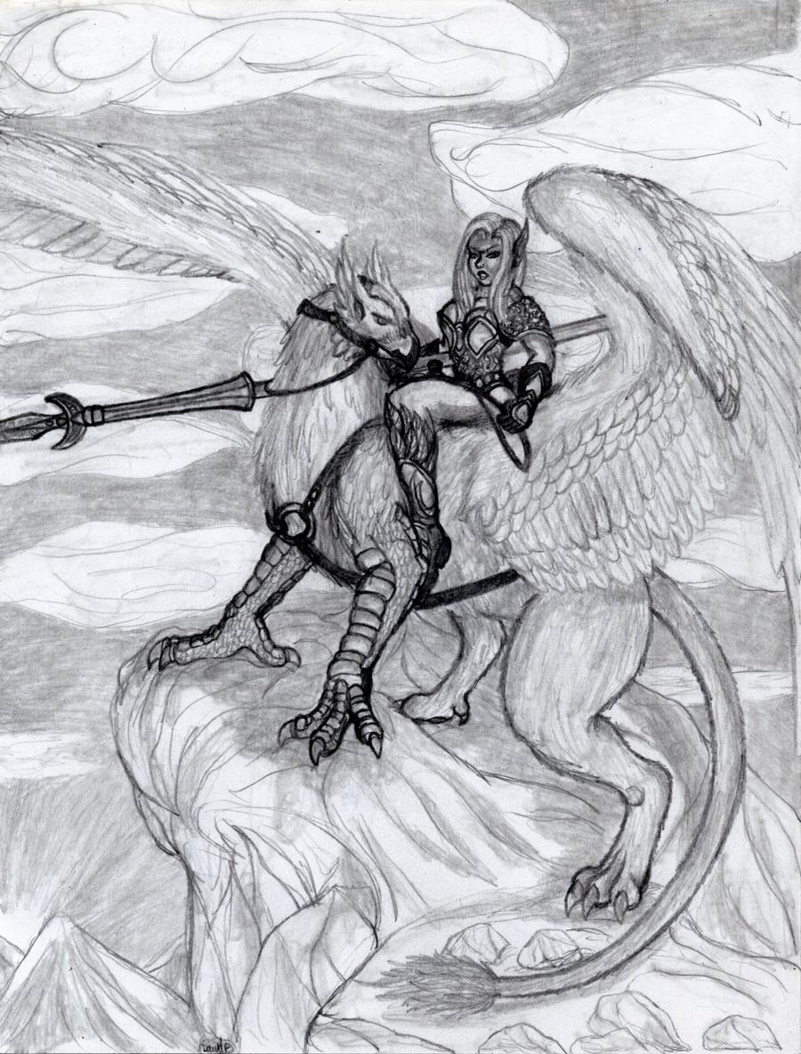 Griffin rider by draks