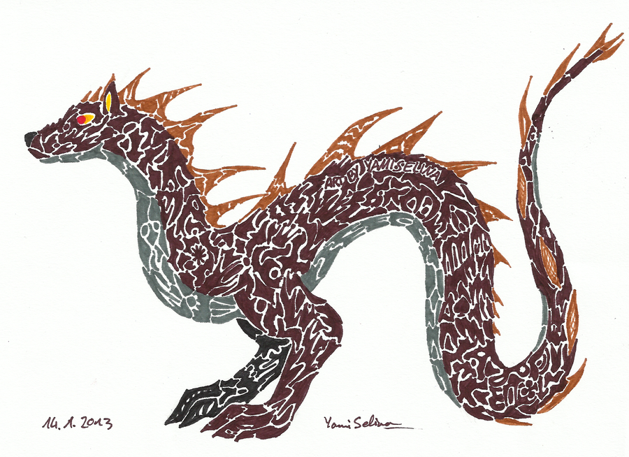 Tatoo Style Dragon by YamiSelina