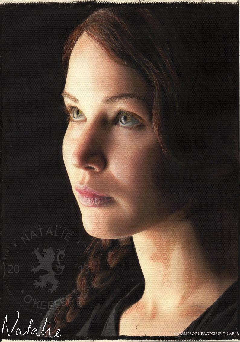 Katniss Everdeen - Oil pastels by NataliesCourageClub
