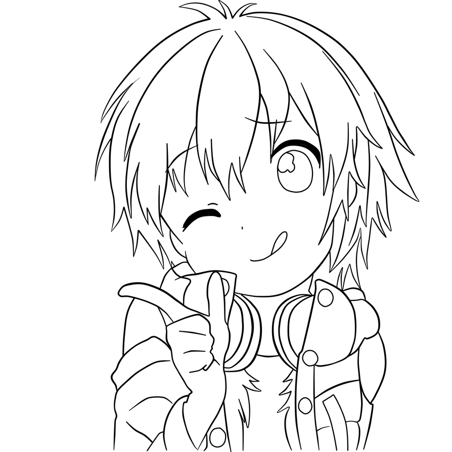 Chibi Lineart : Chibi aoba lineart by lastfreeotome on deviantart