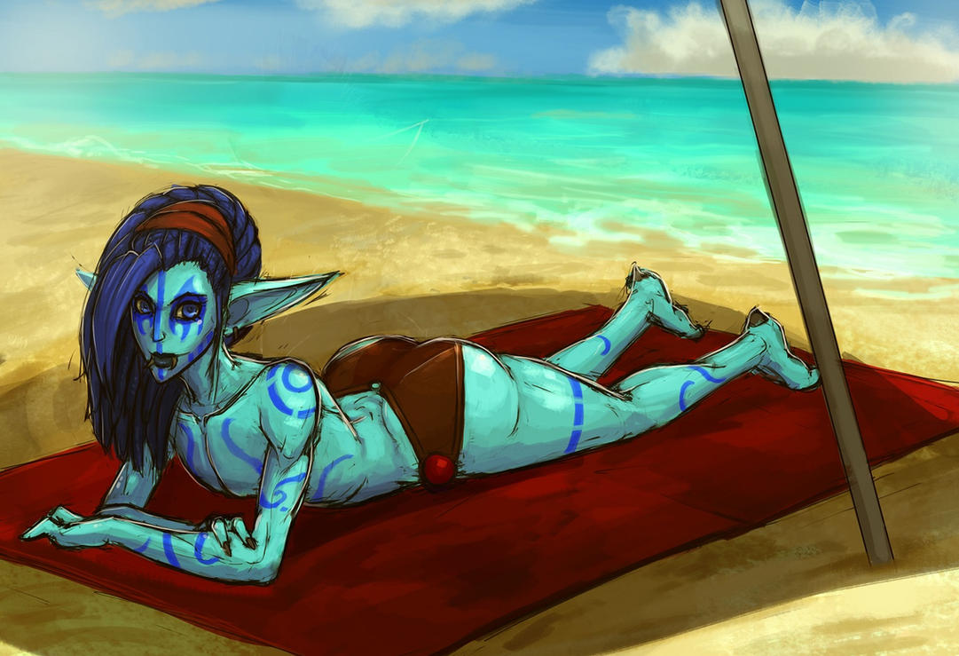 A day at the beach Version2 by SurealKatie