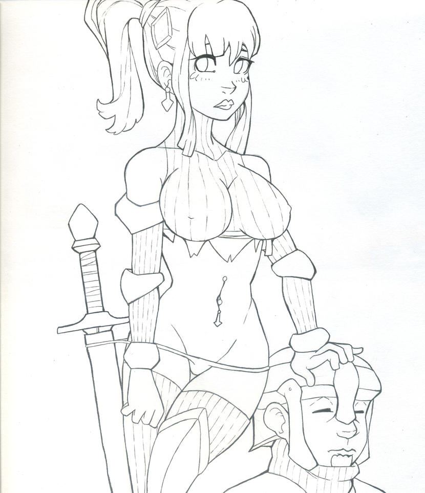 Sketch : Sexy Warrior outfit by Azole-Fantasy