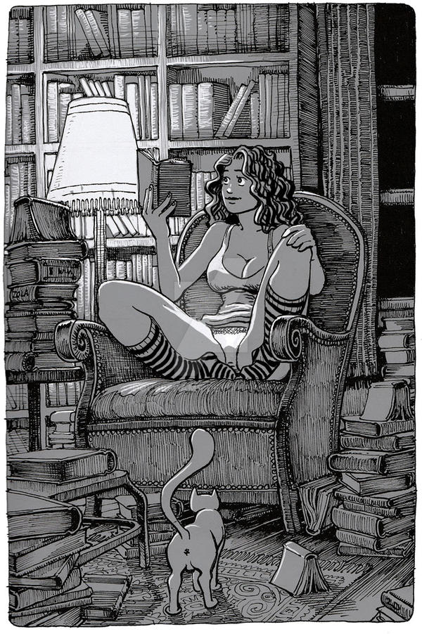 the reading pinup by doubledams