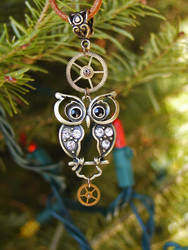 Steampunk-inspired Owl Ornament by GildedGears