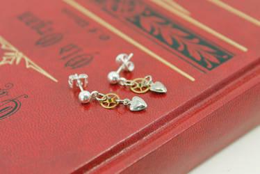 Hearts and Gears Earrings by GildedGears