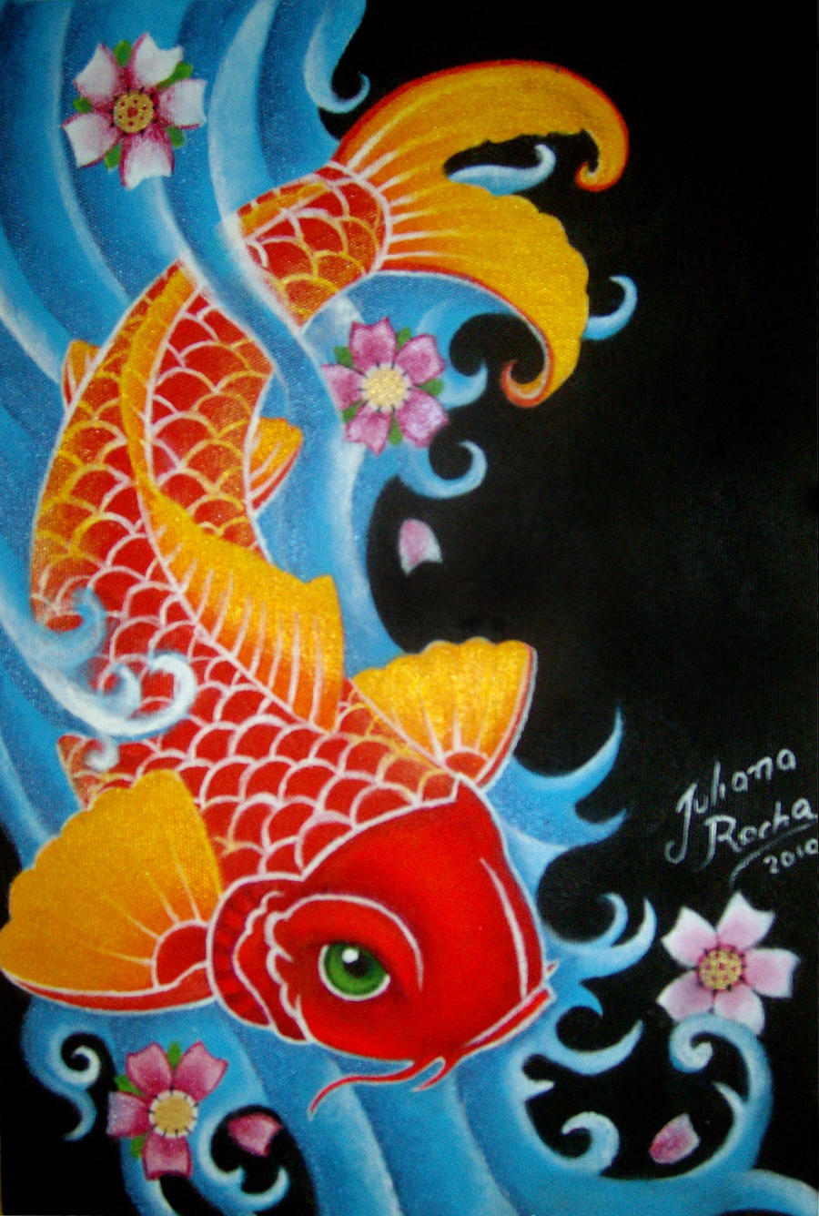 Pin by connie clark on koi pinterest for Koi artwork on canvas
