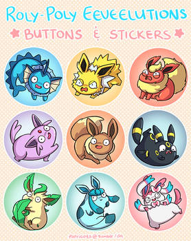 Roly-Poly Eeveelutions Buttons and Stickers