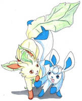 Leafeon and Glaceon by TheDarkenedElf