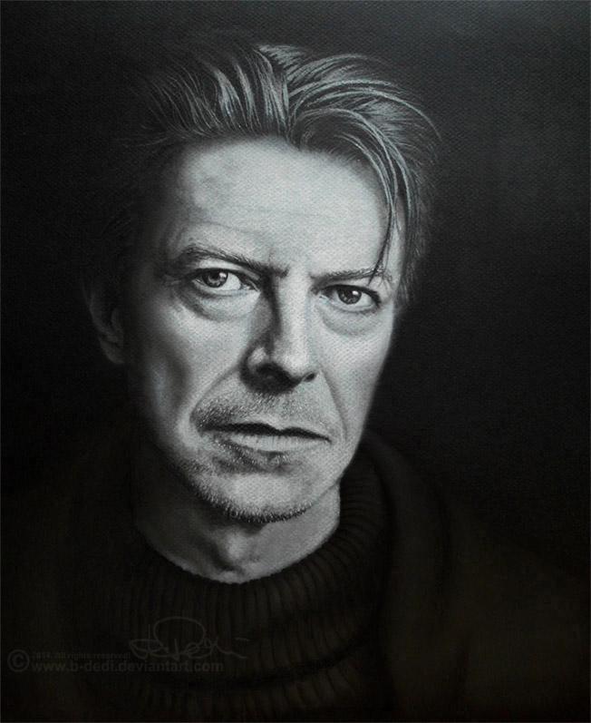 David bowie drawing pastel by b dedi