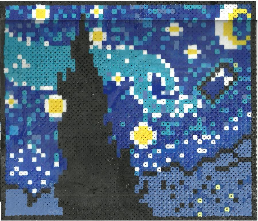 Tardis Von Gogh by Ravenfox-Beadsprites