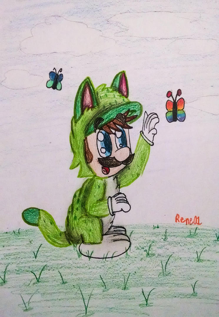 Cat Luigi by CrazyStarlightRene01