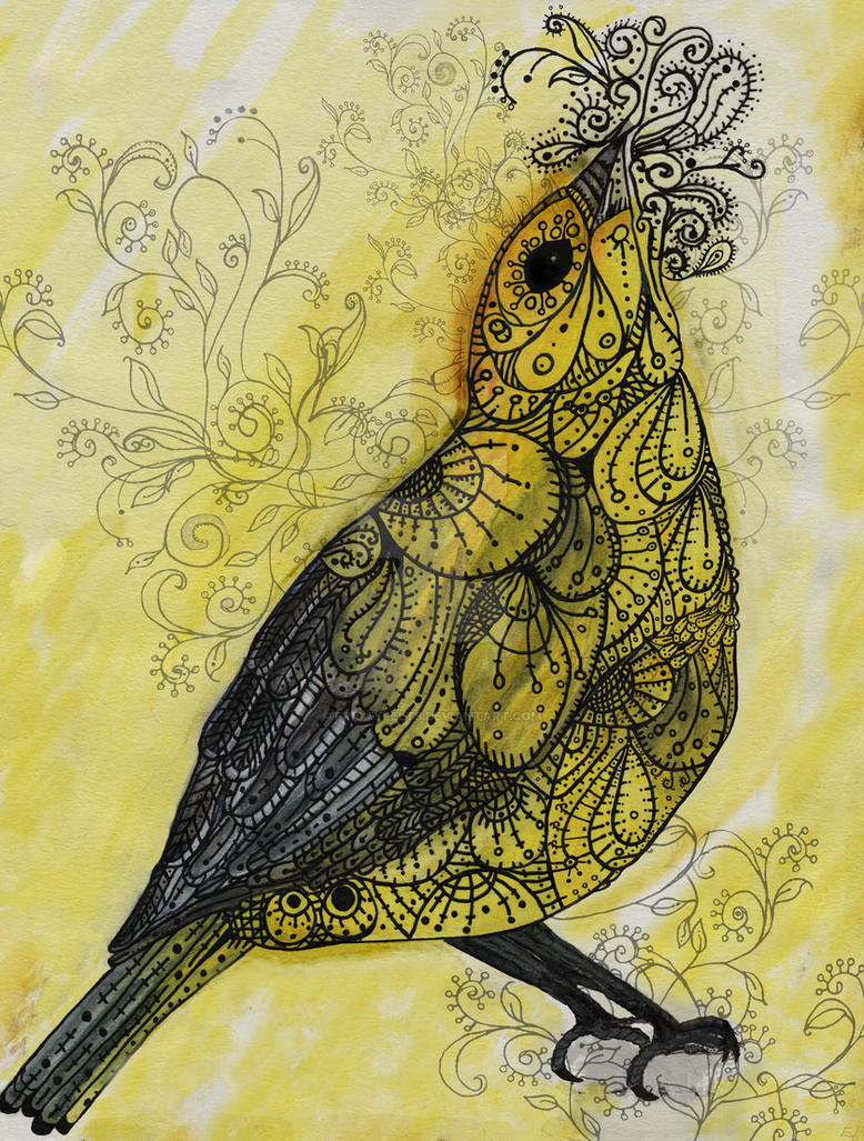 Yellow Bird Singing by Fridayfelts