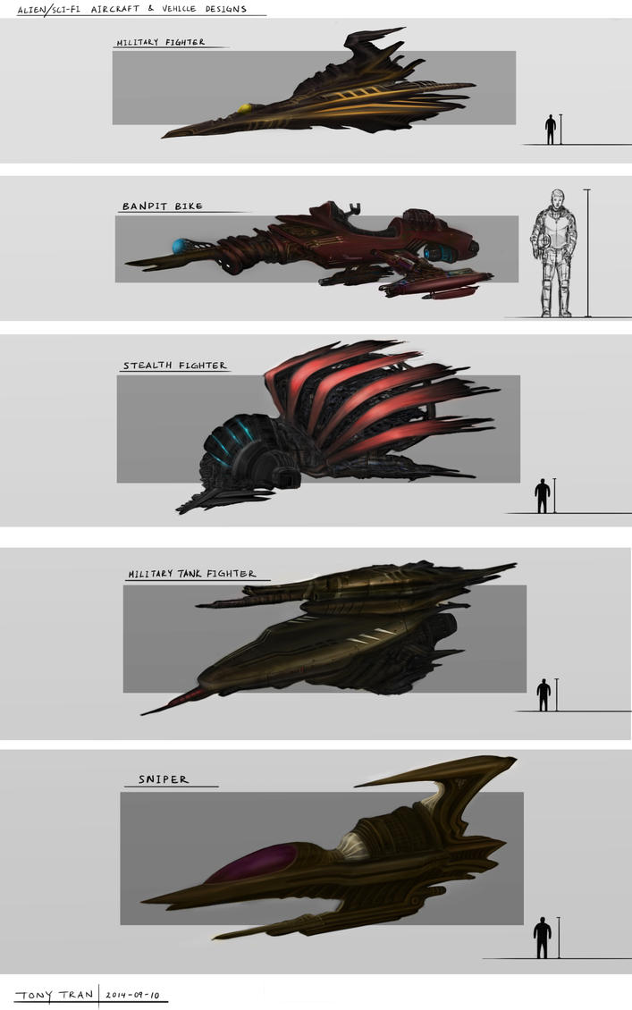 Alien/Sci-Fi aircraft and vehicle design practice by ZhouJiaSheng