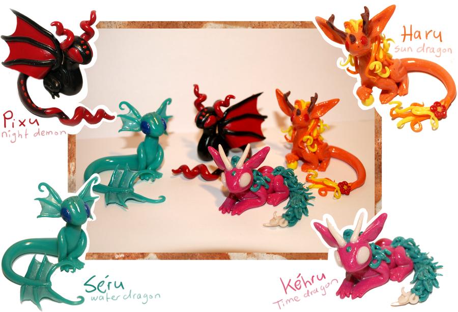 mini dragons by makirou
