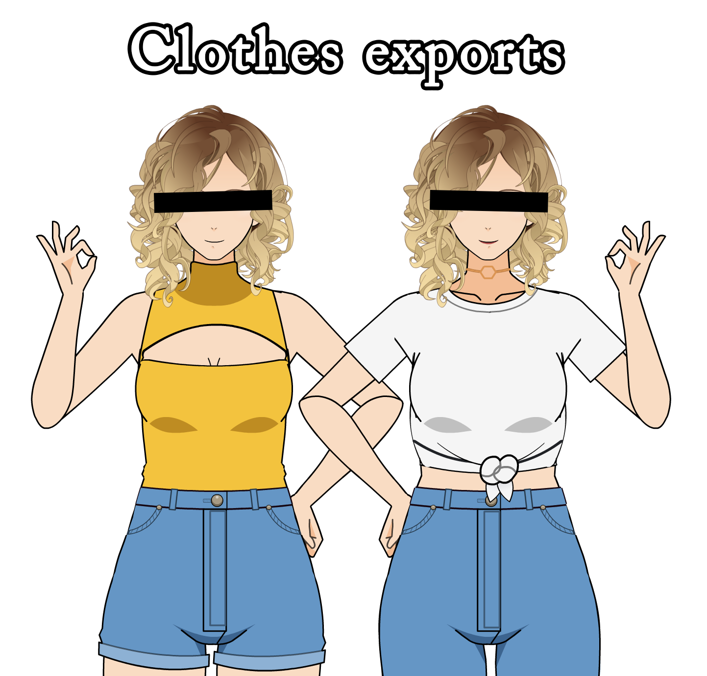High waisted, keyhole, and tied shirt exports