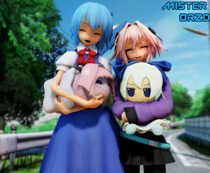 Cirno and Astolfo with haunted plushes