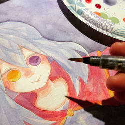 Watercolor WIP oc  by AZNpplz