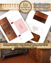 Printable Antique wood sideboard papercraft 01