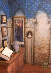 printable wallpaper Acient Magic Library 01 by AnnaBellLeeArt