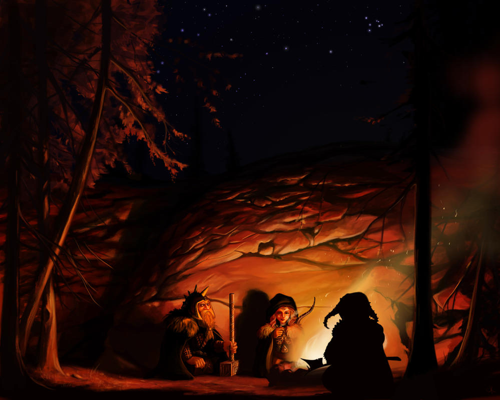 Dwarves by firelight by Ckrall