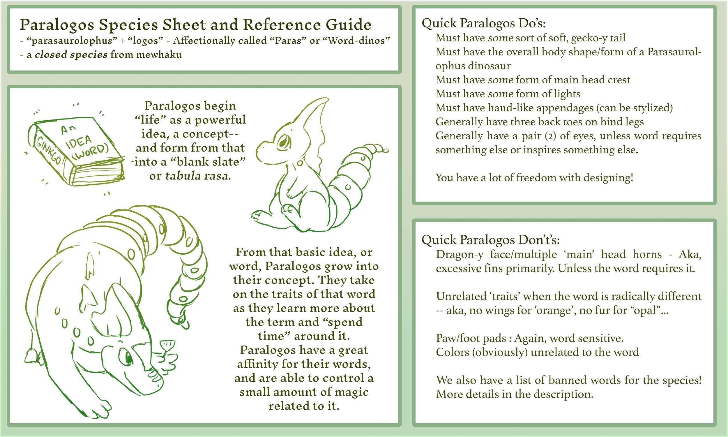 [Paralogos] Species Sheet + Guide