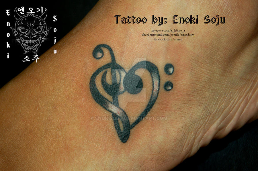 treble and bass clef heart tattoo by enokisoju on deviantart rh enokisoju deviantart com Base Clef Heart Treble Clef Heart