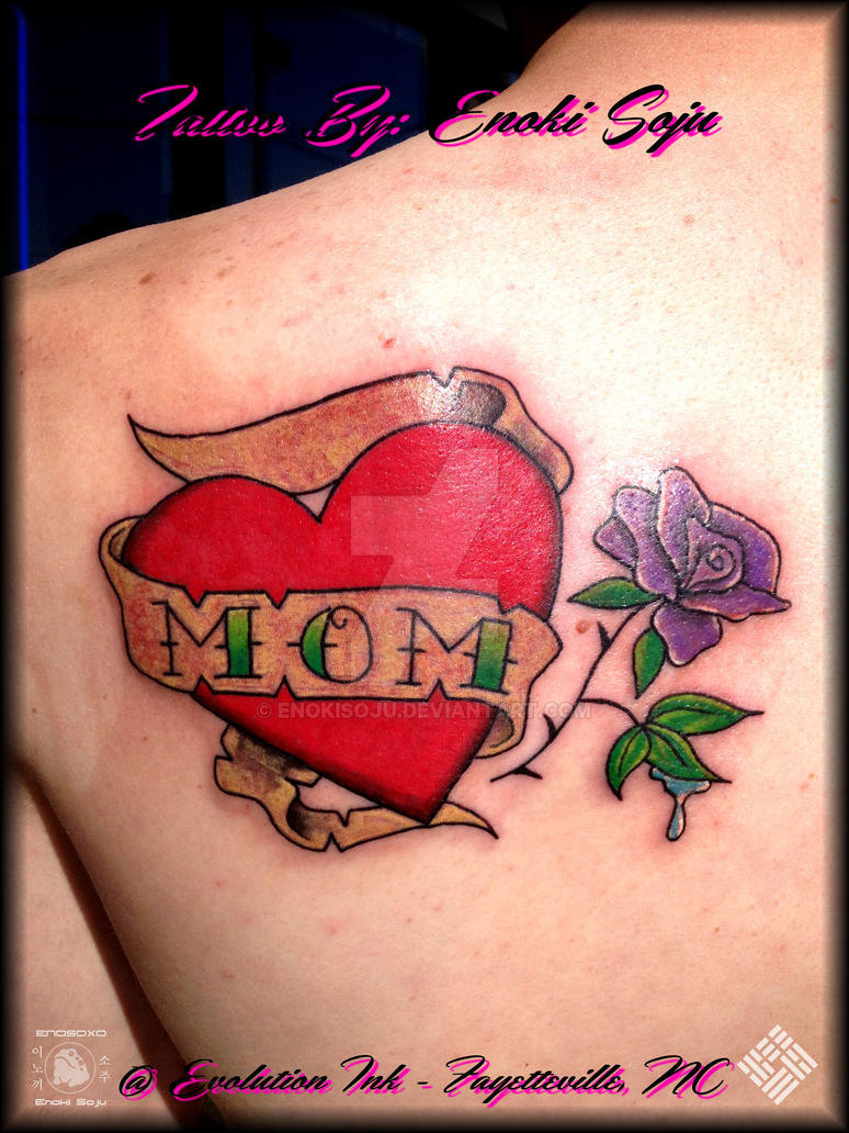 Heartbroken Mom Warns Others After 18 Year Old Daughter: Heart Banner Mom Flower Tattoo By Enoki Soju By Enokisoju