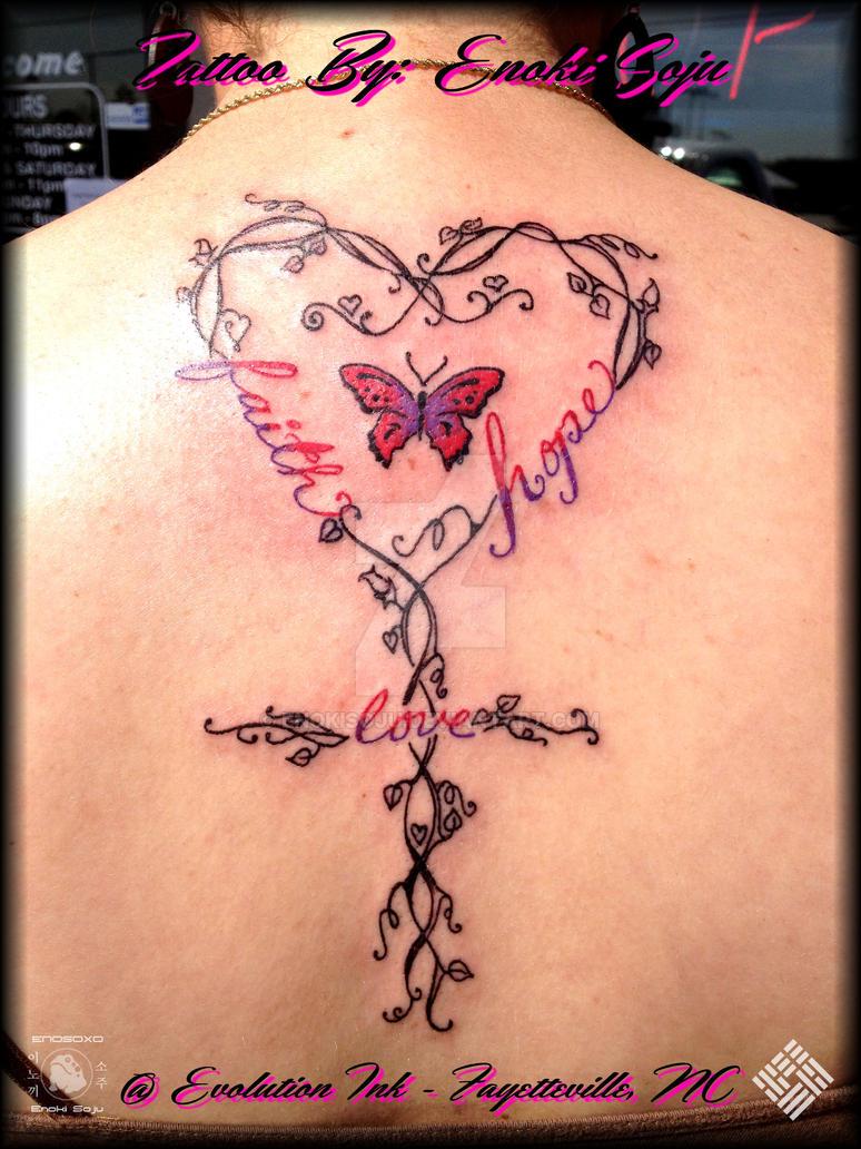 Faith hope love swirls vines butterfly tattoo by enokisoju for Faith love tattoo