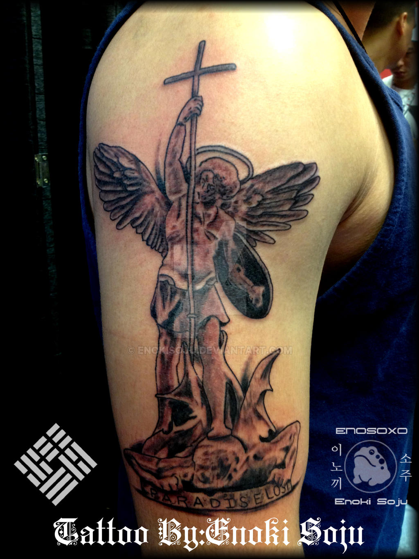 a462a1360 Saint Michael Tattoo with regard to saint michael statue tattooenoki  sojuenokisoju on deviantart