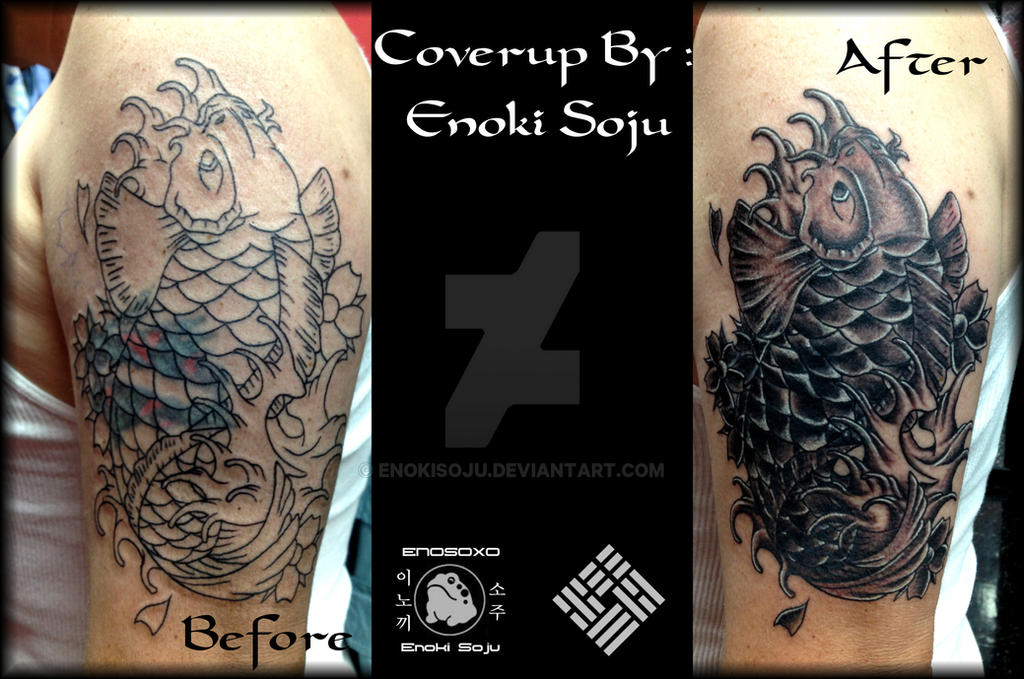 Koi fish coverup by enoki soju by enokisoju on deviantart for Koi fish cover up