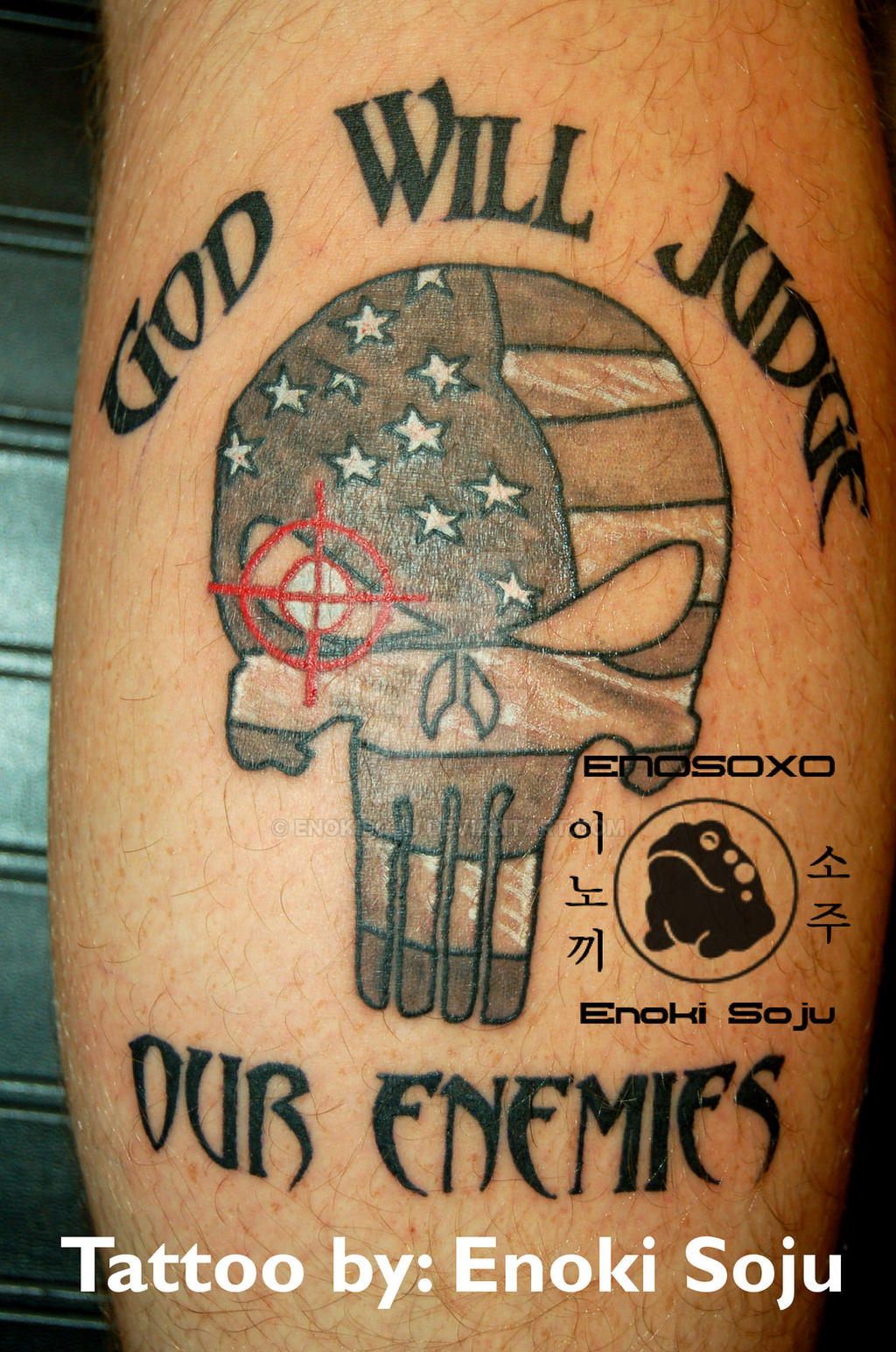 Custom punisher skull american flag tattoo by enokisoju on for Texas tattoo license