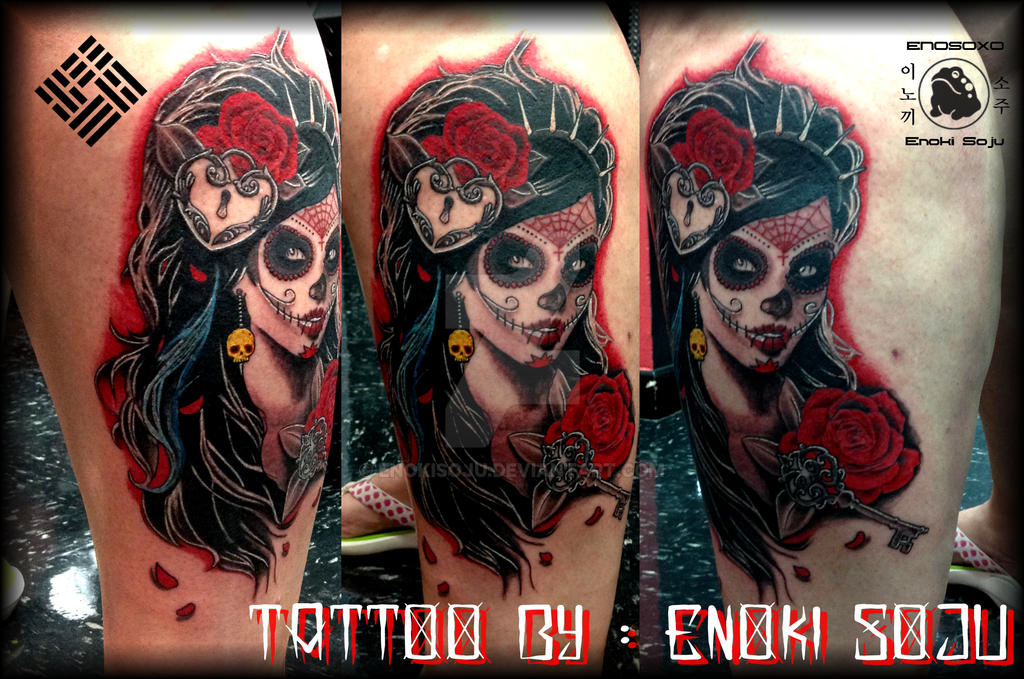 Day Of The Dead Woman With Roses Tattoo By Enoki By Enokisoju On