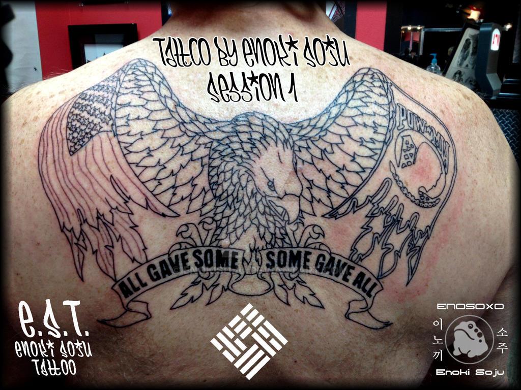 American eagle pow mia outline by enoki by enokisoju on for Pow mia tattoo
