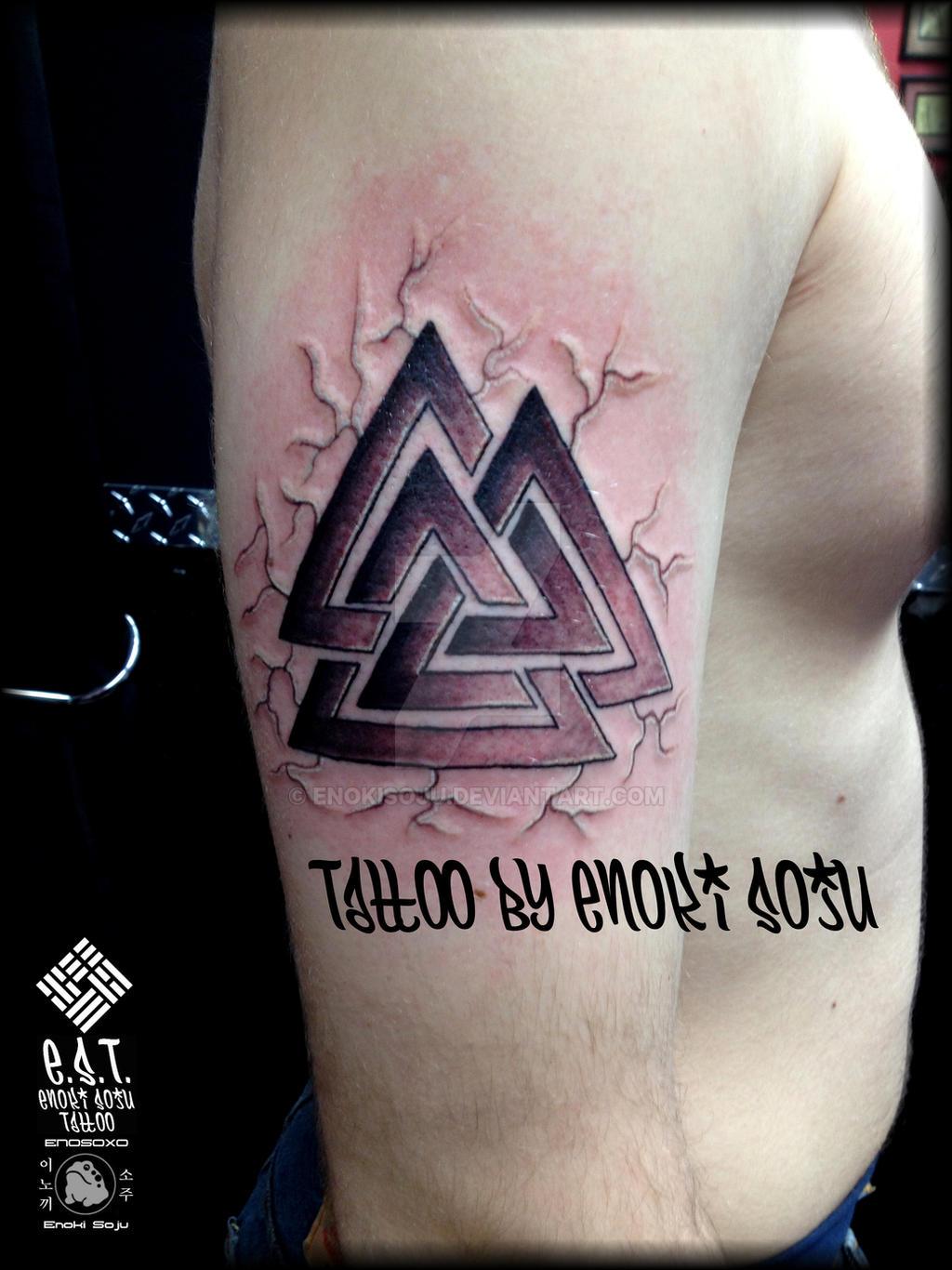 Valknut Viking Symbol Tattoo By Enoki Soju By Enokisoju On