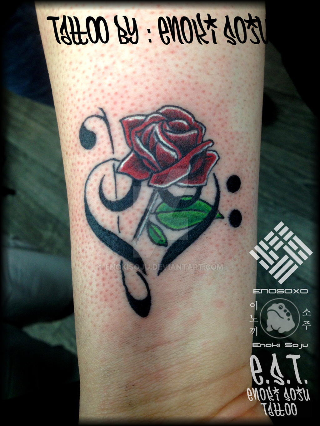 Bass and treble clef heart tattoo by enoki soju by for Treble and bass clef heart tattoo