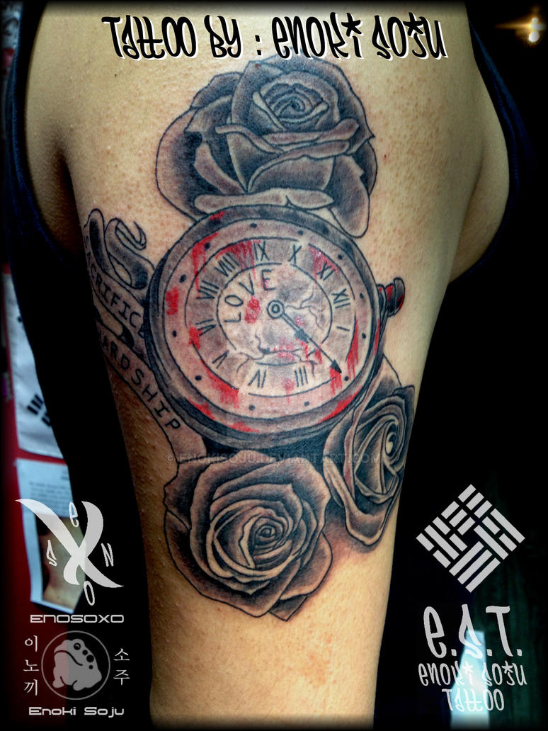 Custom timepiece and roses tattoo by enoki soju by for Time piece tattoos