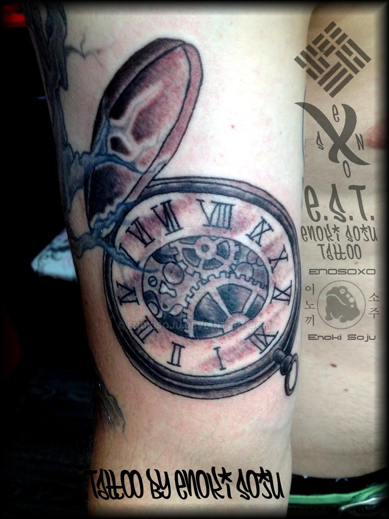 Timepiece tattoo by enoki soju by enokisoju on deviantart for Time piece tattoos