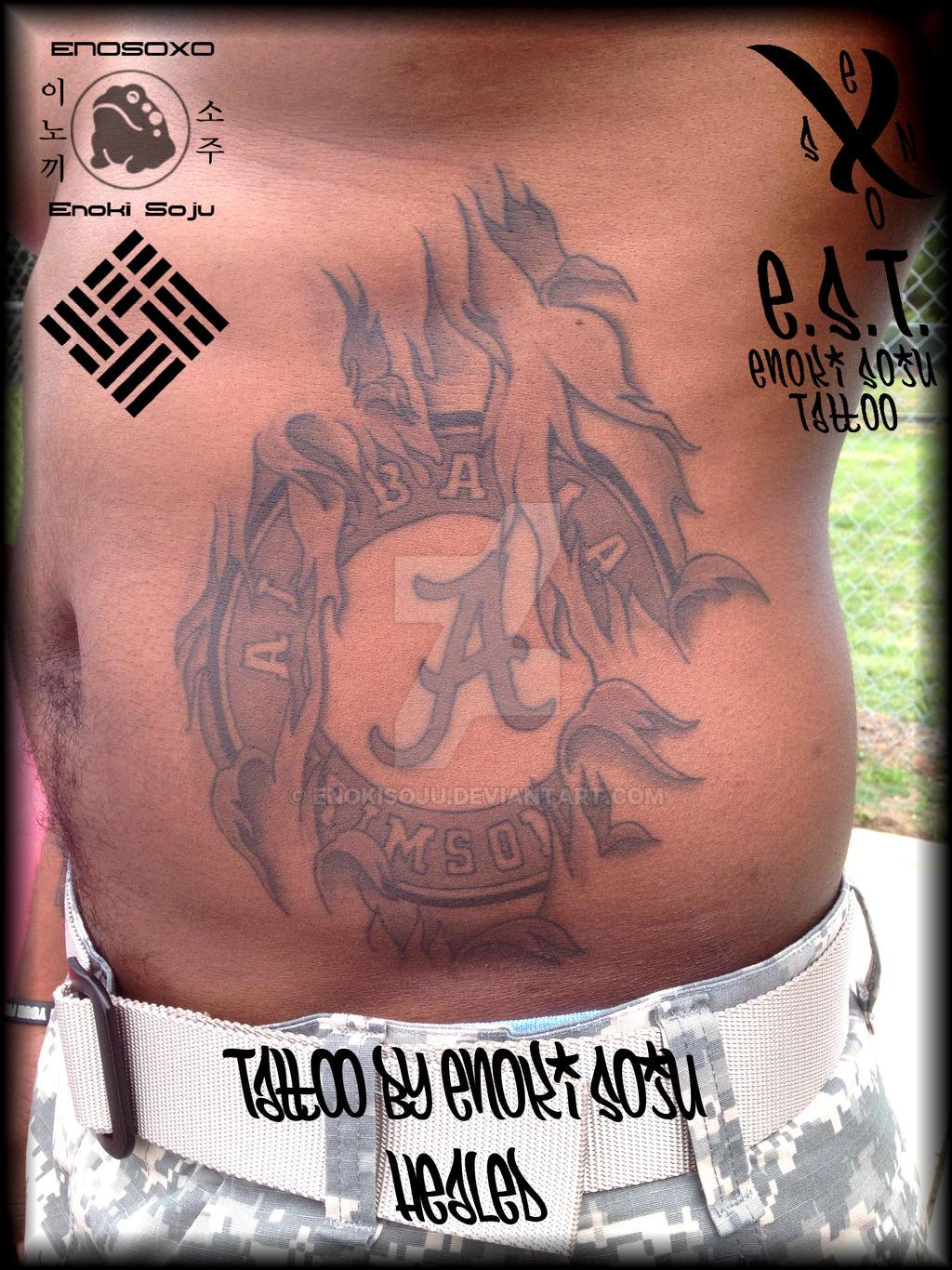 Alabama Crimson Tide Tattoo Healed by Enoki Soju