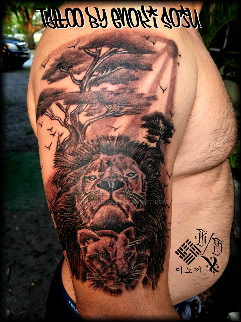 Lion cub and tree tattoo by enoki soju by enokisoju on for Lion and cub tattoo