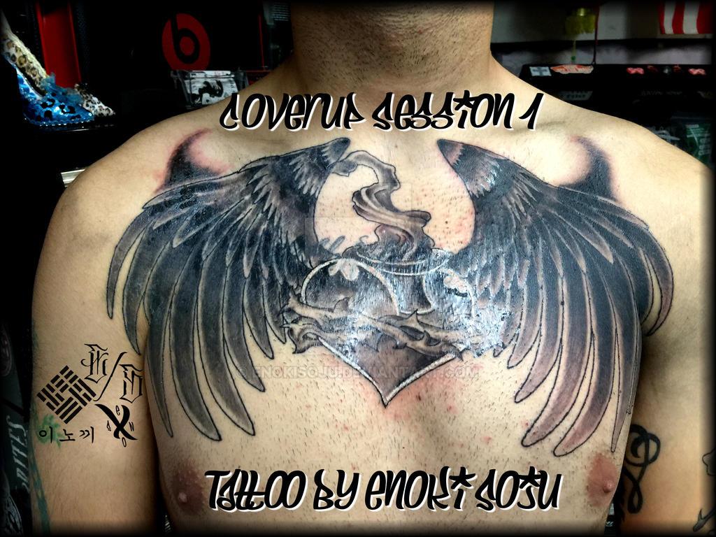 Sacred Heart Wings Coverup S1 Tattoo By Enoki Soju By Enokisoju On