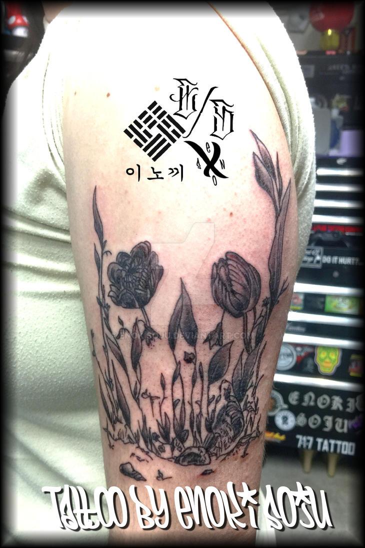 48f3ff00f2c75 Floral Flower Skull Tattoo by Enoki Soju by enokisoju on DeviantArt