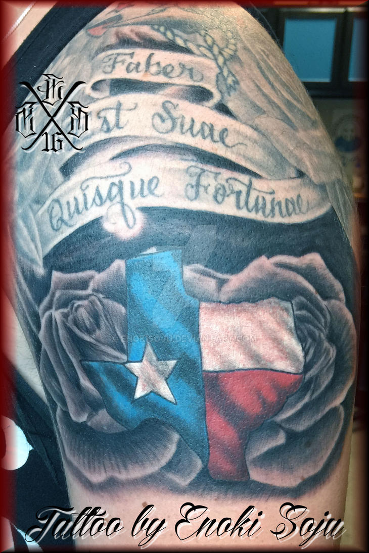 Texas flag and roses tattoo by enoki soju by enokisoju on for Texas tattoo license