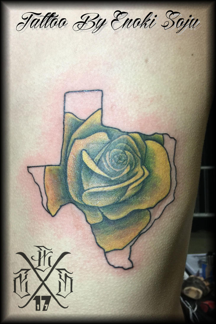 Texas outline and rose tattoo by enoki soju by enokisoju for Texas tattoo license