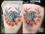 Custom Lion Floral Wreath Tattoo by Enoki Soju