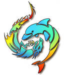 dragon and dolphin yin yan